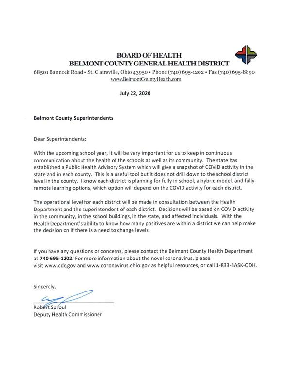 LETTER FROM BELMONT COUNTY HEALTH DEPT.